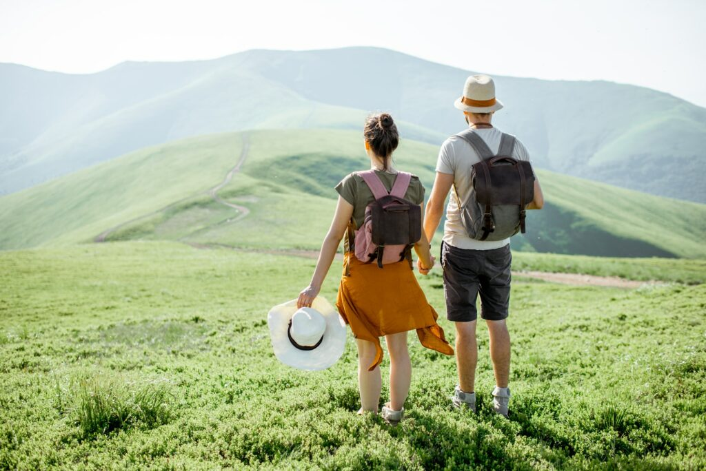 Couple traveling in the mountains